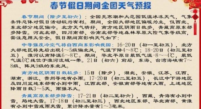 中国气象局:春节期间气象条件利于出行